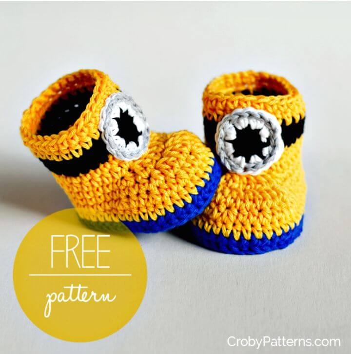 Cómo hacer un patrón de botitas de bebé inspirado en un minion de ganchillo fácil y fácil