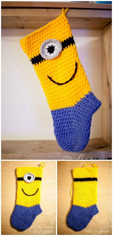 Patrón de calcetín Minion de ganchillo gratis