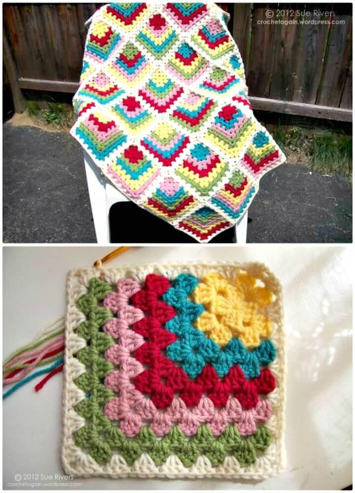 Patrón cuadrado abuelita ingleteado fácil de crochet gratis