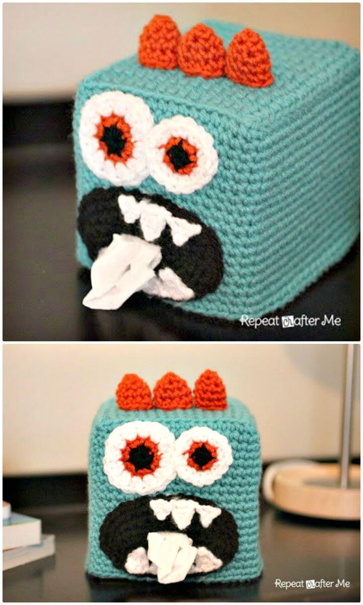 Cómo liberar el patrón de cubierta de caja de pañuelos de ganchillo Monster Kleenex