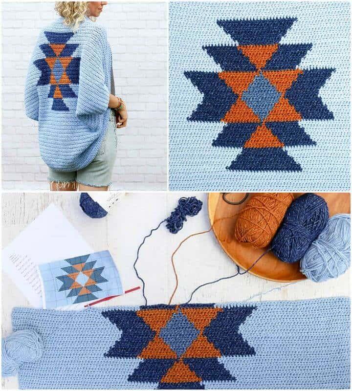 Patrón de encogimiento de hombros de manta Navajo de ganchillo fácil y gratuito