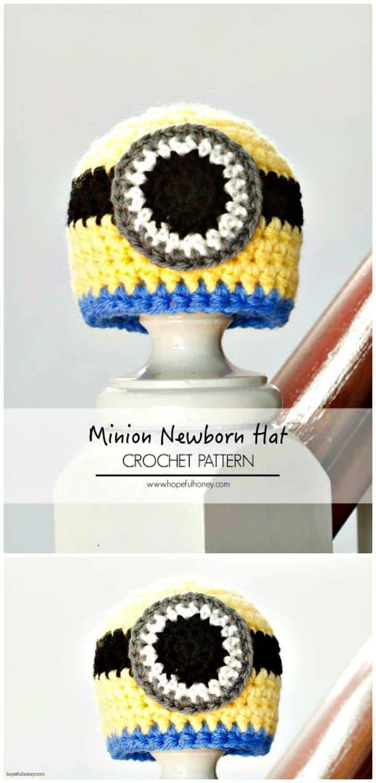 Patrón de sombrero inspirado en Minion recién nacido de ganchillo gratis