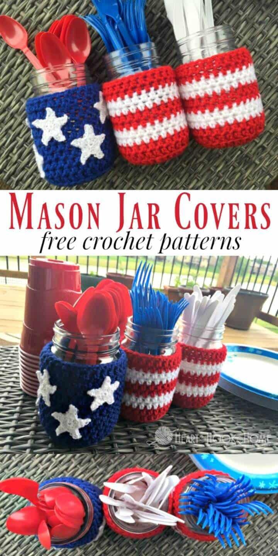 Patrón de cubiertas de tarro de masón patriótico de ganchillo gratis