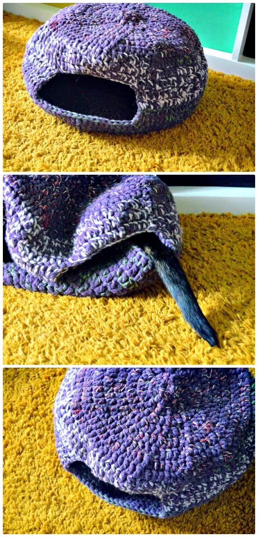 Patrón de cama o cueva de gato Pixie de ganchillo gratis