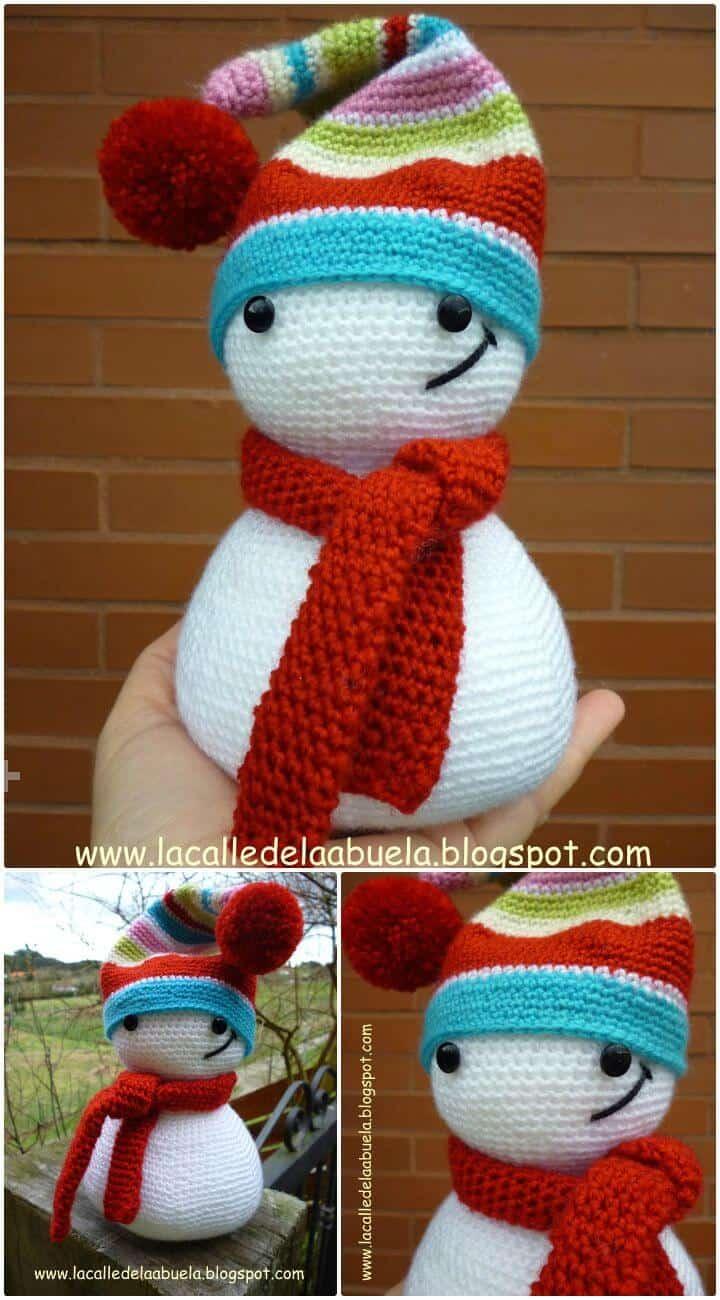 Patrón Amigurumi de muñeco de nieve Polita The Snowman de ganchillo gratis fácil