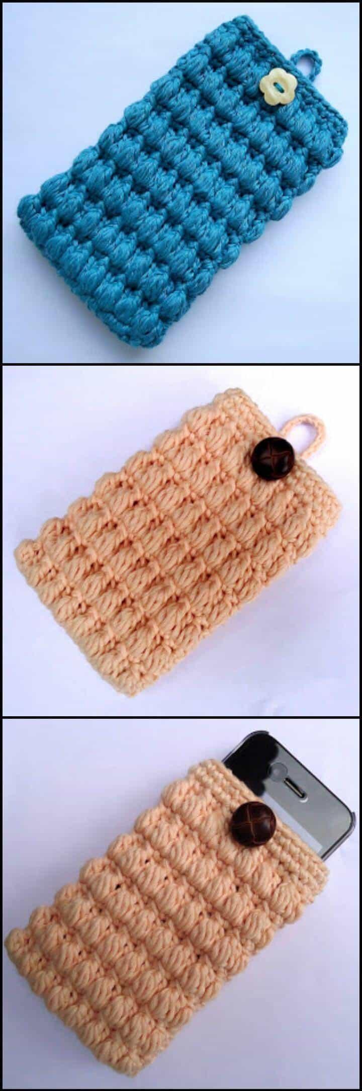 patrón de cubierta de teléfono celular hinchado de ganchillo fácil y gratis