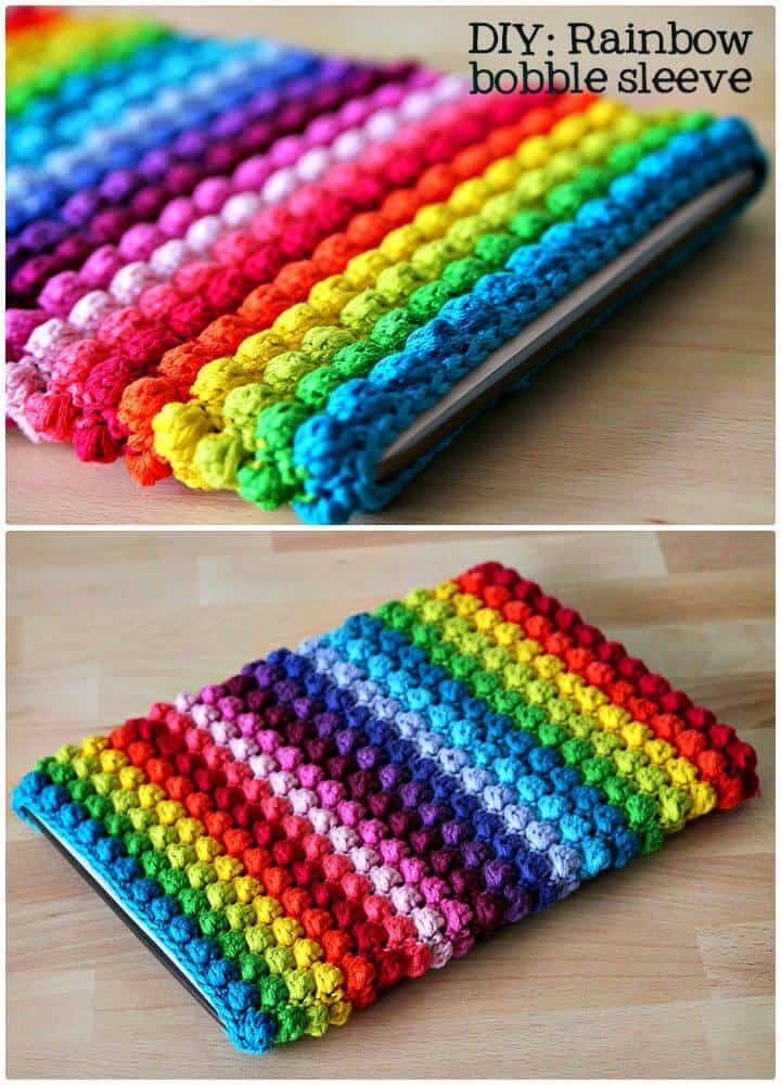 Patrón de manga de tableta fácil de crochet Rainbow Bobble