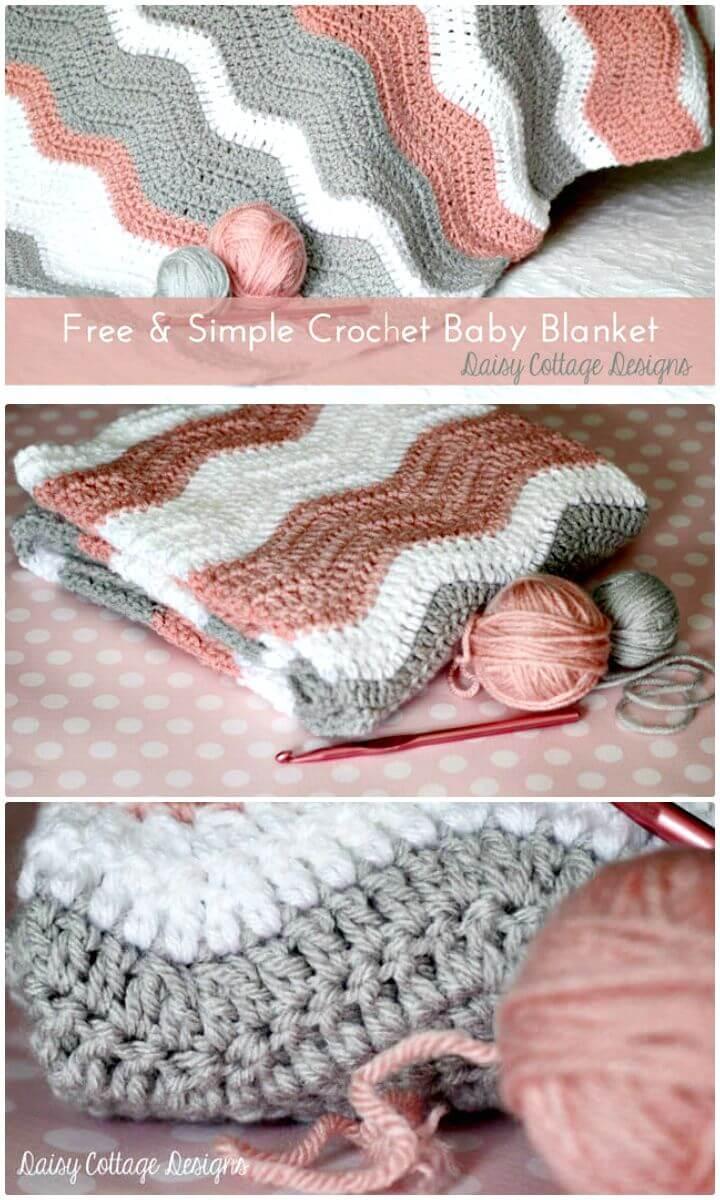 Patrón de manta de bebé de ondulación de ganchillo gratis simple