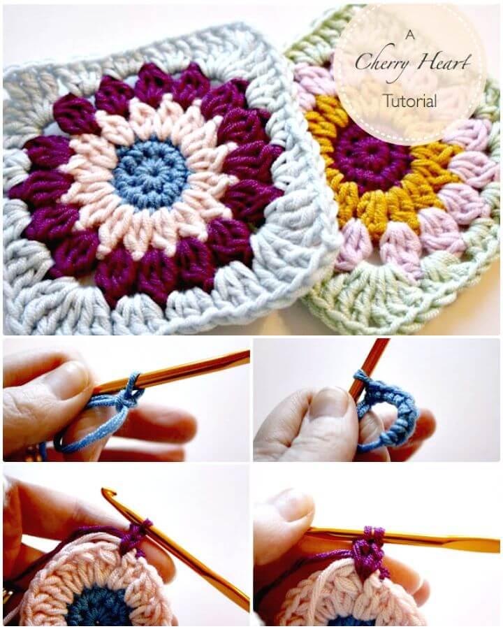 Patrón de crochet cuadrado fácil de Rosie Posie Grannie + tutorial
