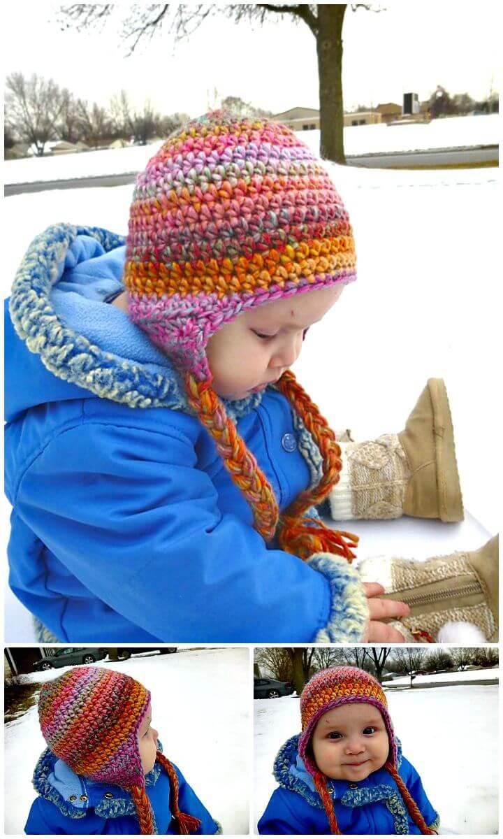 Patrón de sombrero con orejeras sin costuras de ganchillo fácil y gratuito