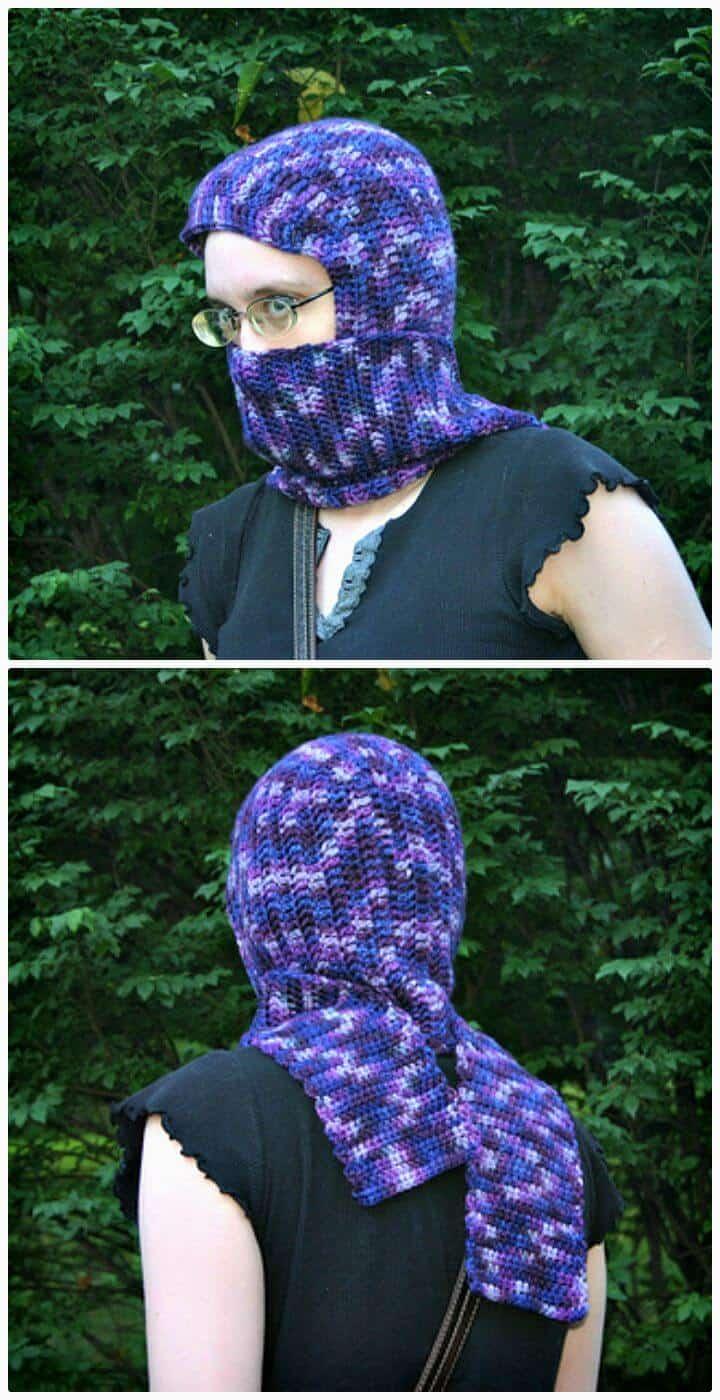 Patrón de bufanda con capucha sin costuras de ganchillo fácil y gratuito