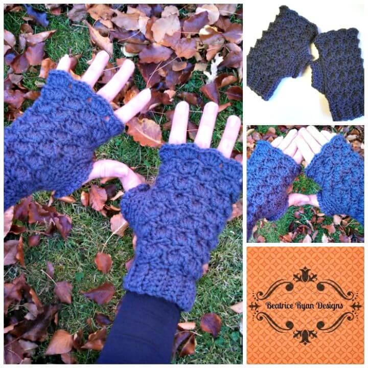 Hermoso patrón de guantes sin dedos y conchas de ganchillo gratis