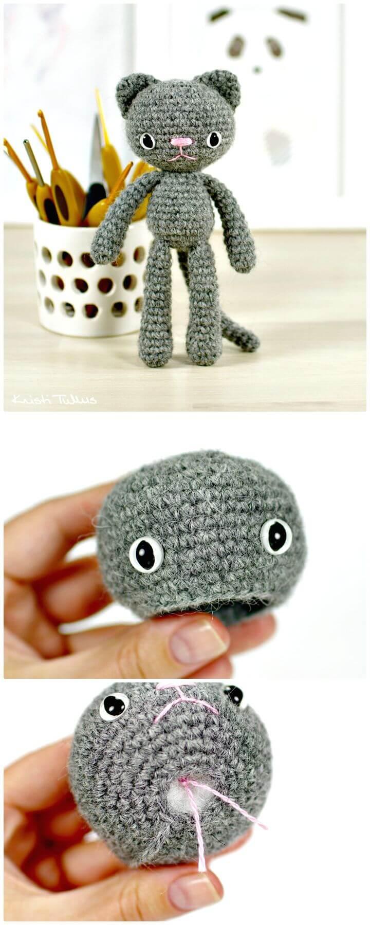 Cómo hacer un patrón de ganchillo pequeño de gato de patas largas gratis