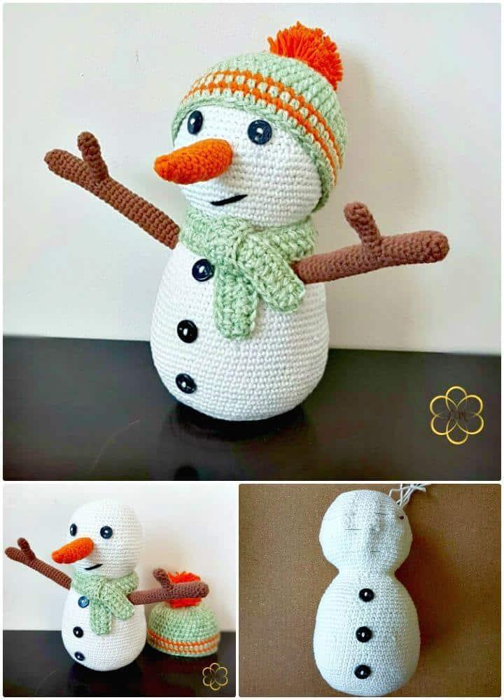 Patrón Amigurumi de muñeco de nieve de ganchillo gratis