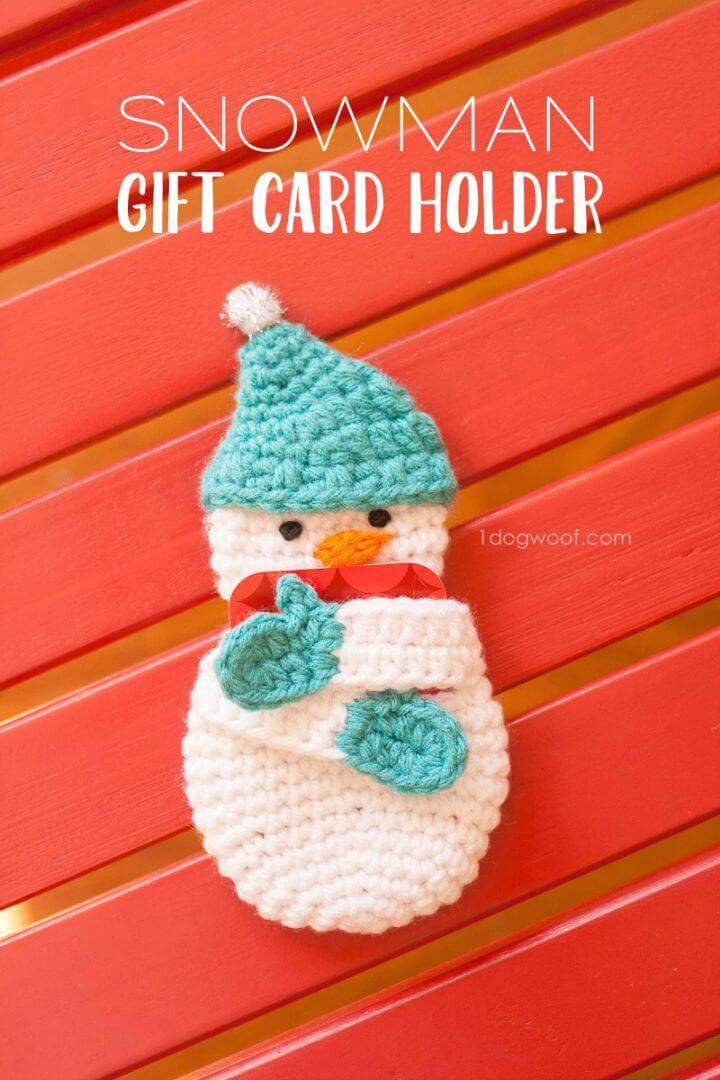 Patrón de tarjetero de regalo de muñeco de nieve de ganchillo gratis