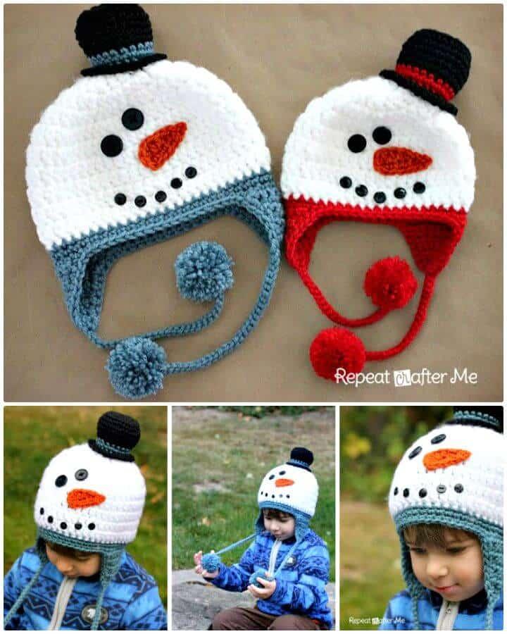 Patrón de sombrero de muñeco de nieve de ganchillo gratis fácil