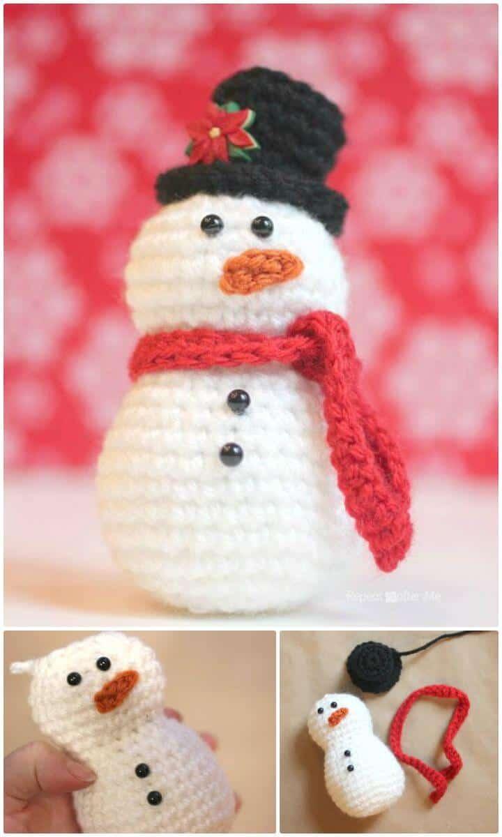 Cómo tejer muñeco de nieve a ganchillo - Patrón gratuito