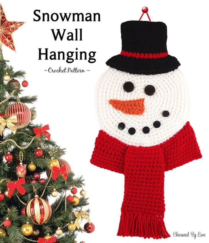 Patrón de colgante de pared de muñeco de nieve de ganchillo gratis