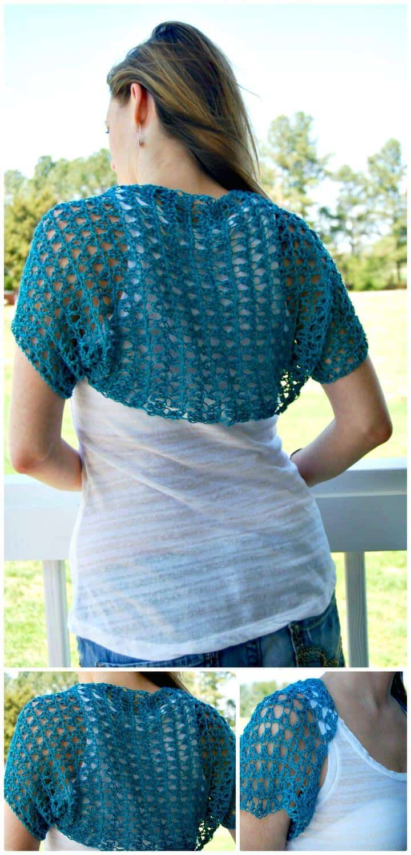 Patrón de encogimiento de hombros de primavera de ganchillo fácil y gratuito