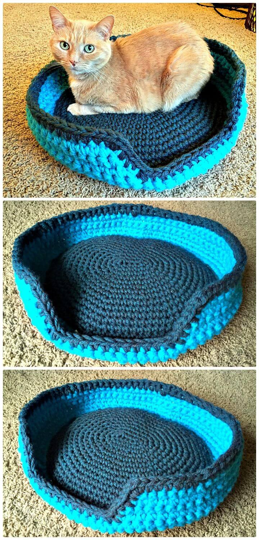 Patrón de cama de gato resistente y cómodo de ganchillo fácil y gratuito