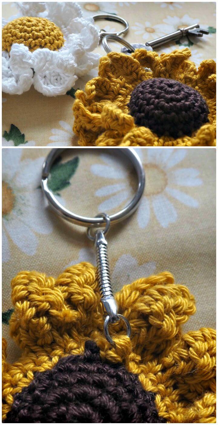 Patrón de clave de girasol de ganchillo fácil y gratuito