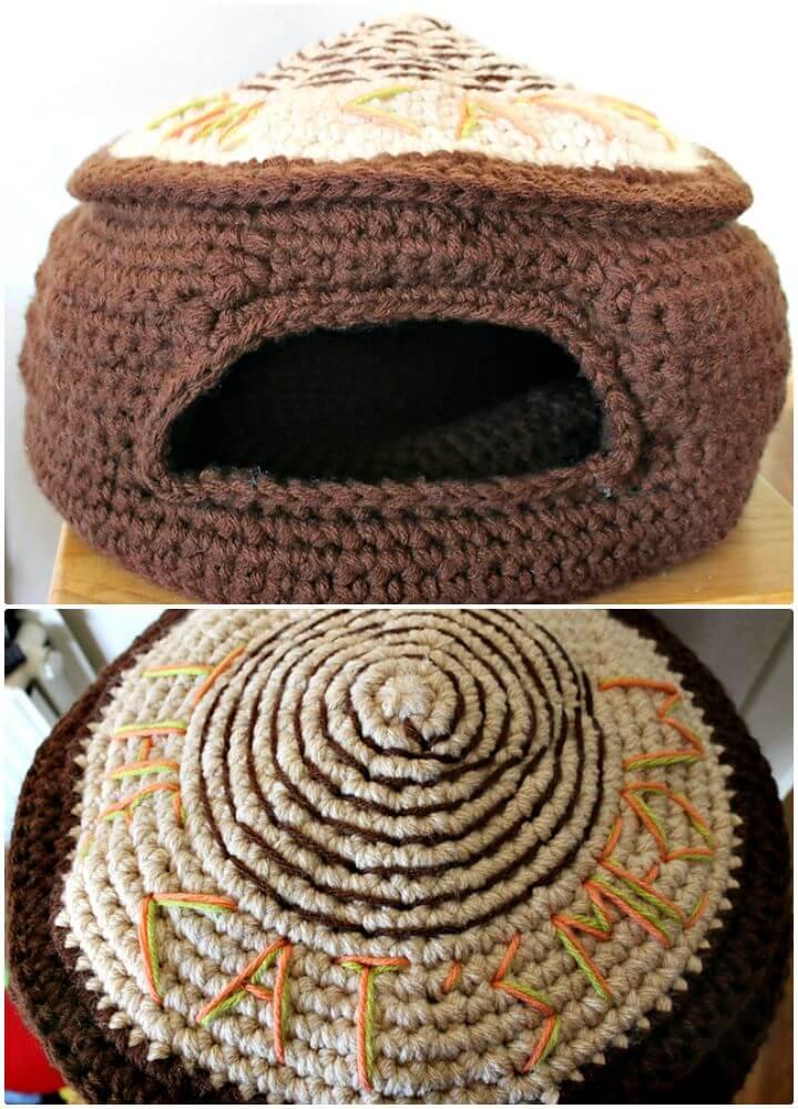 Patrón de cama o cueva del maullido del gato a crochet gratis