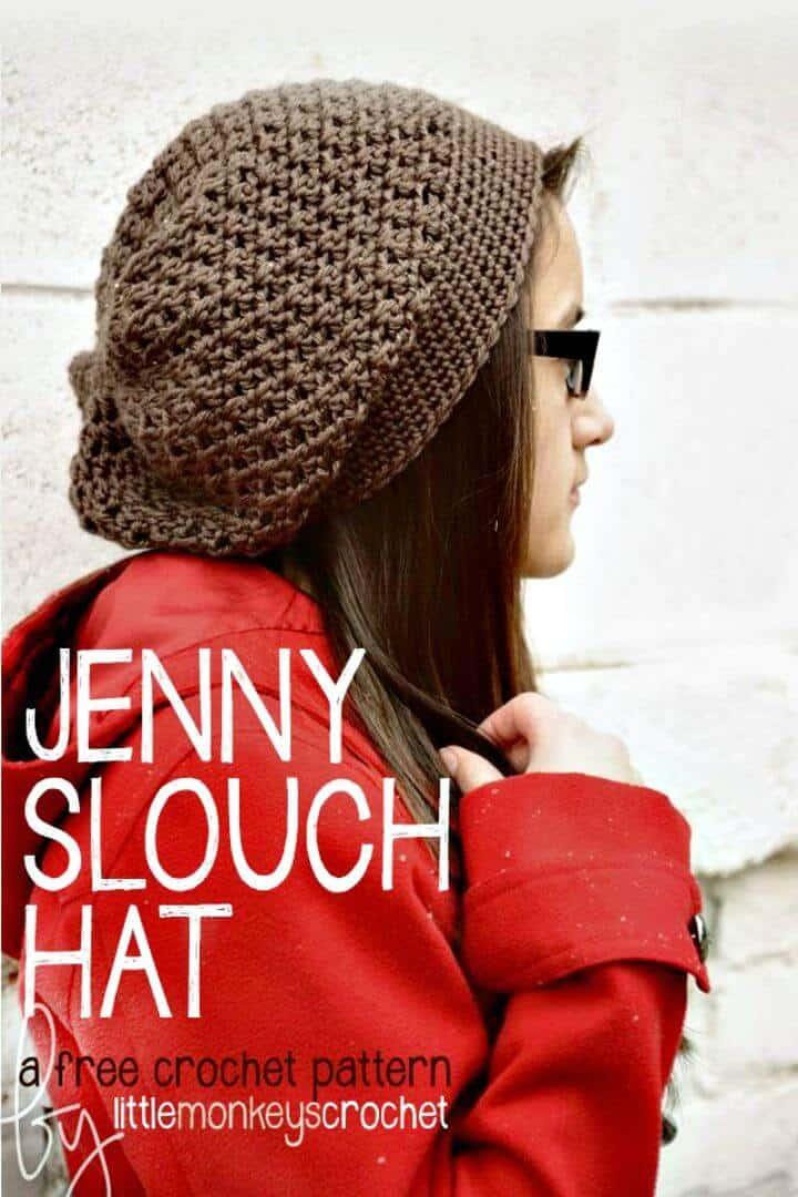 Cómo tejer a crochet gratis el patrón de sombrero holgado de Jenny