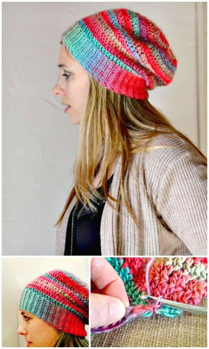 Patrón de sombrero holgado inolvidable de ganchillo fácil y gratuito