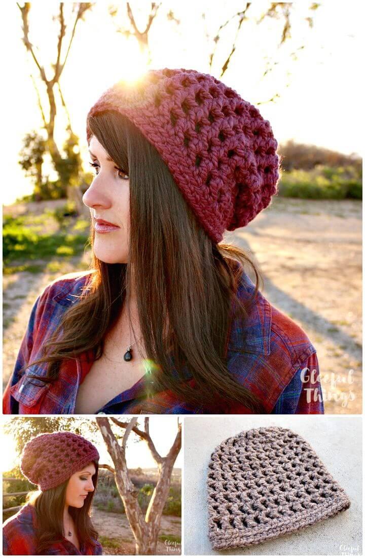 Patrón de sombrero holgado de cono de gofre de ganchillo fácil y gratuito