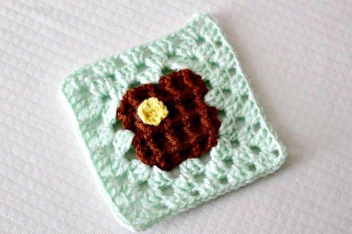 Patrón de crochet gratis Waffle Granny Square
