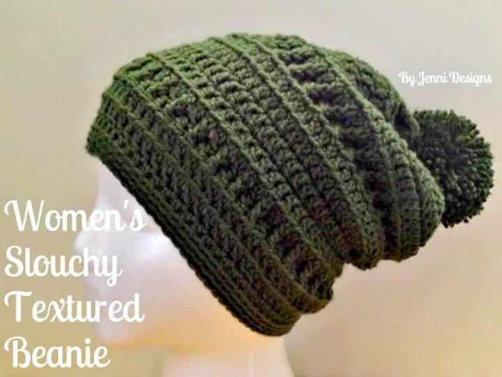Cómo liberar el patrón de gorro con textura holgada de crochet para mujer