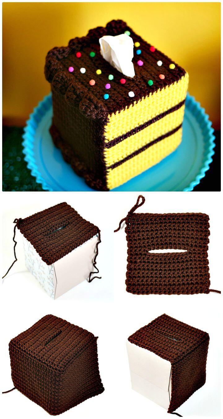 Cómo hacer un pastel amarillo de ganchillo gratis fácil con un patrón de glaseado de chocolate
