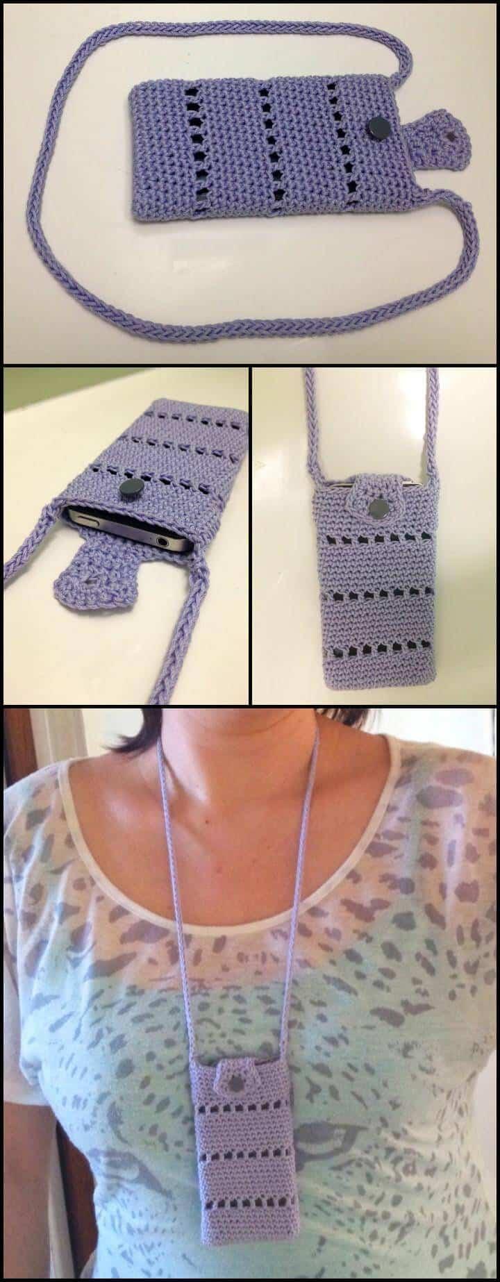 patrón de bolsa de ganchillo para iPhone fácil y gratuito