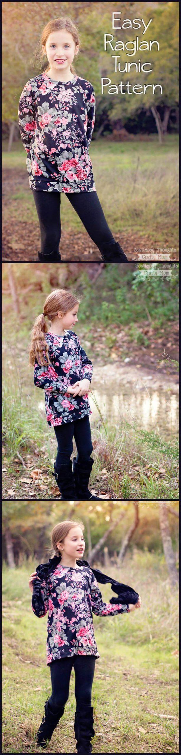 patrón de túnica raglán fácil para niñas