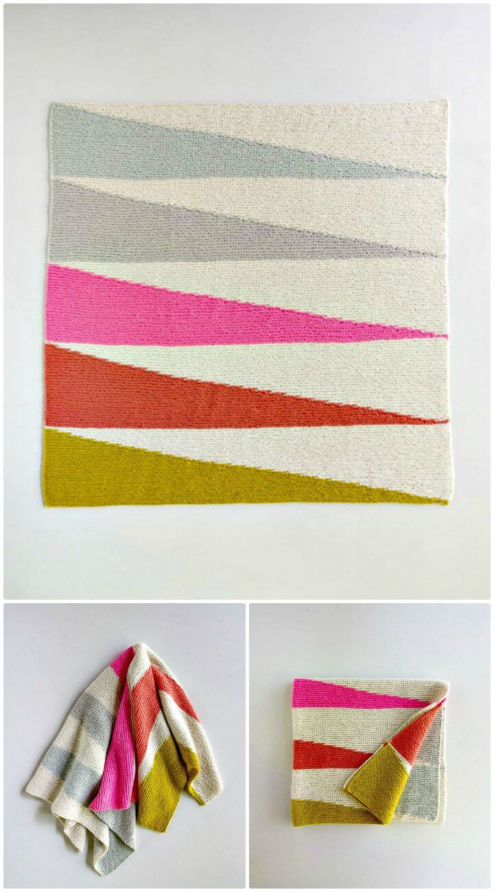 Cómo tejer gratis el patrón de manta de bebé con cuñas de colores
