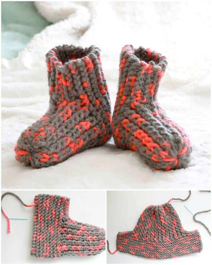 Pantuflas Easy Knit para el día de la nieve - Patrón gratuito