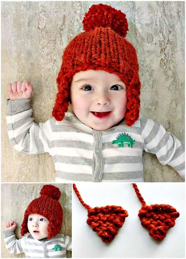 Cómo tejer gratis el patrón de gorro con solapa de oreja de bebé