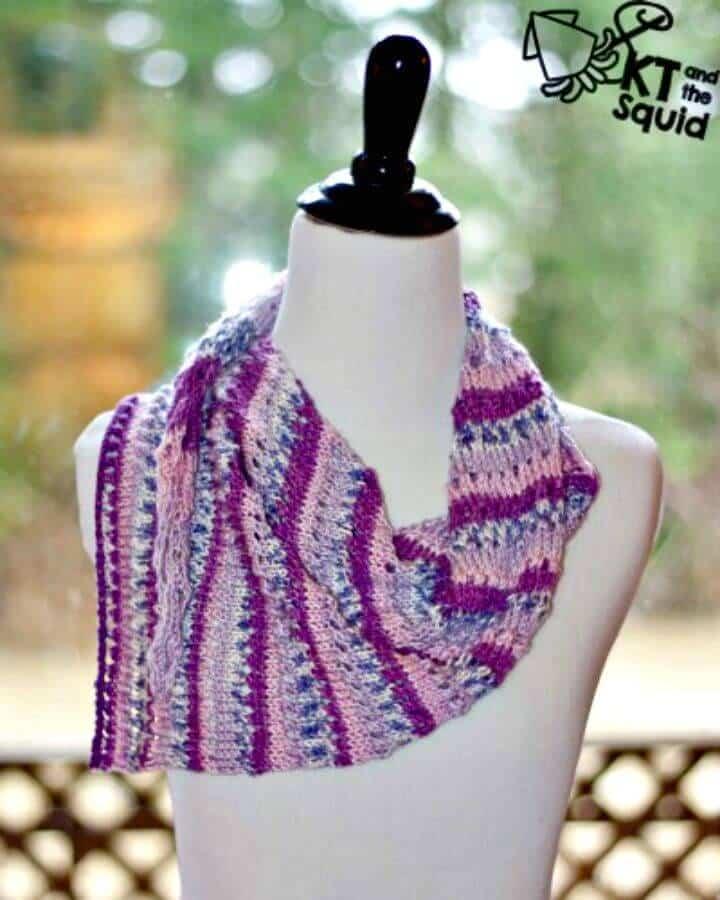 Patrón de bufanda Doty fácil de tejer gratis