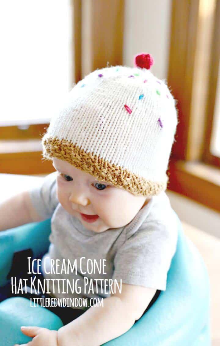 Cómo tejer el patrón de sombrero de helado gratis