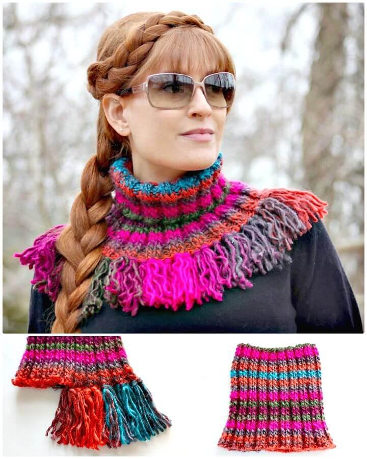 Patrón de capucha de borla de tejer fácil y gratis
