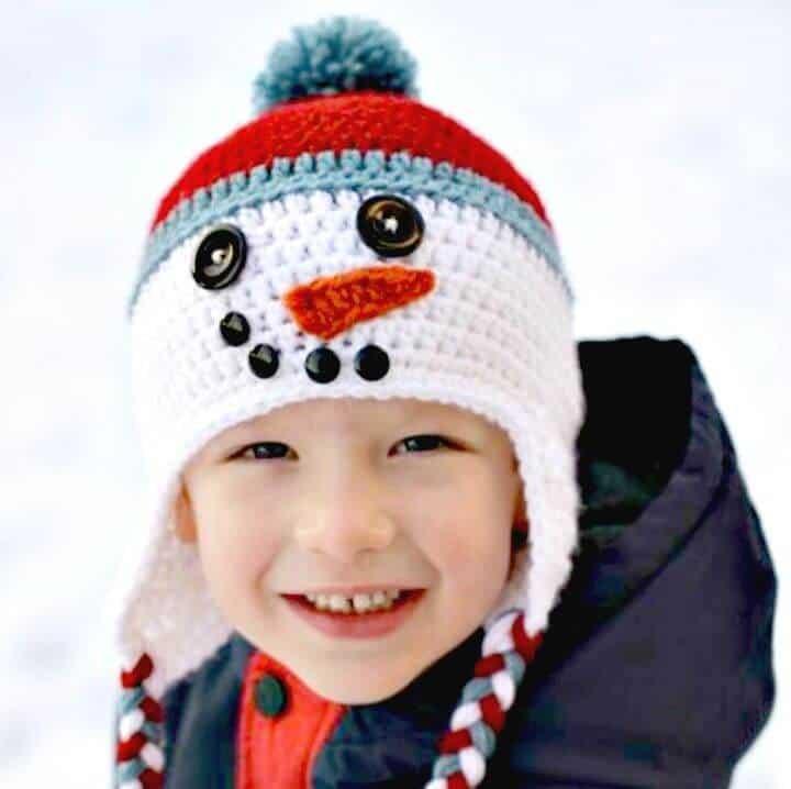 Sombrero de muñeco de nieve de ganchillo gratis para patrón de niño bebé