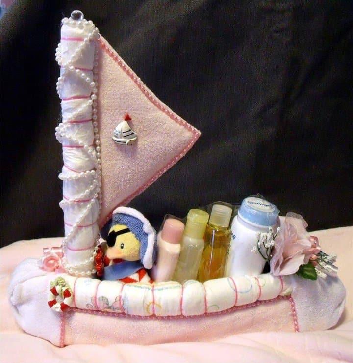 increíble pastel de pañales de velero