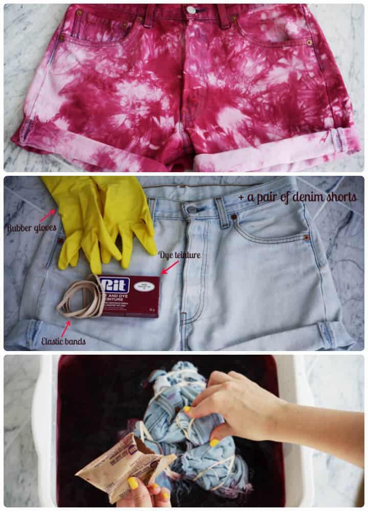 Idea de pantalones cortos de verano teñido anudado de bricolaje