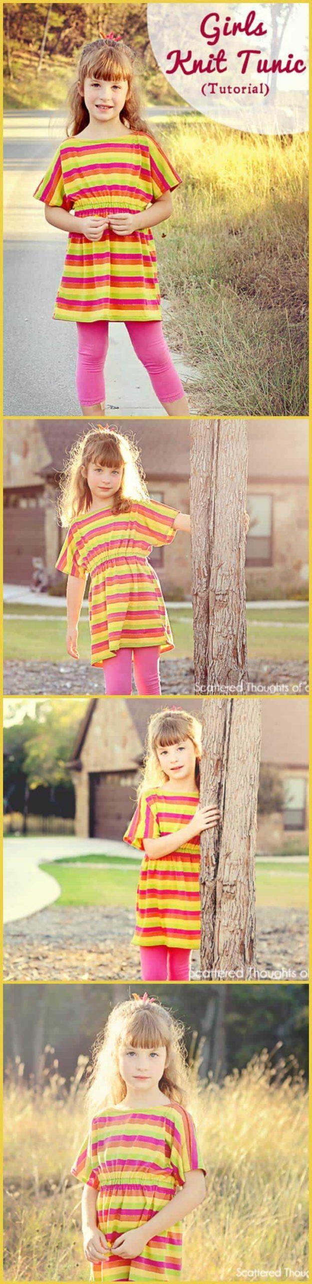 Tutorial y patrón de túnica de punto fácil para niñas