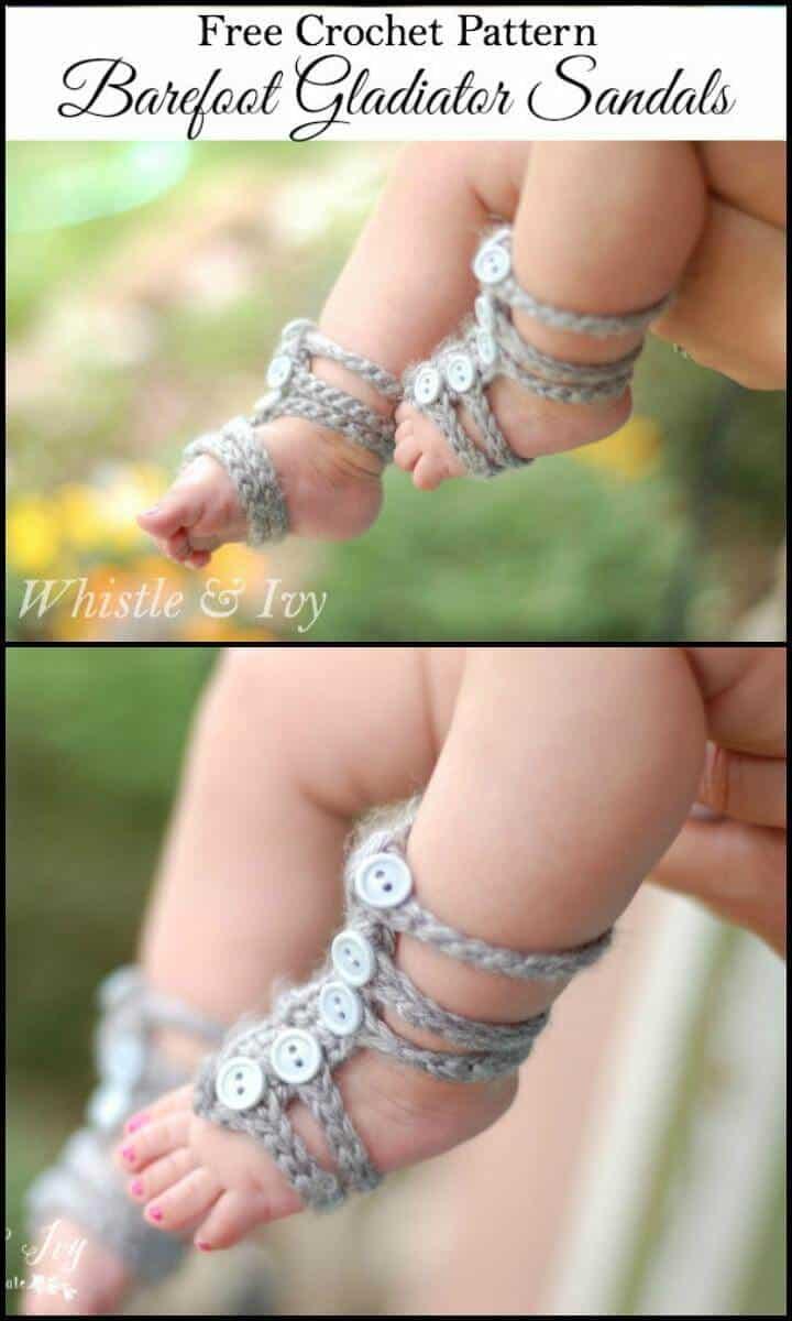 Gladiator Barefoot Baby Sandals Free Crochet Pattern