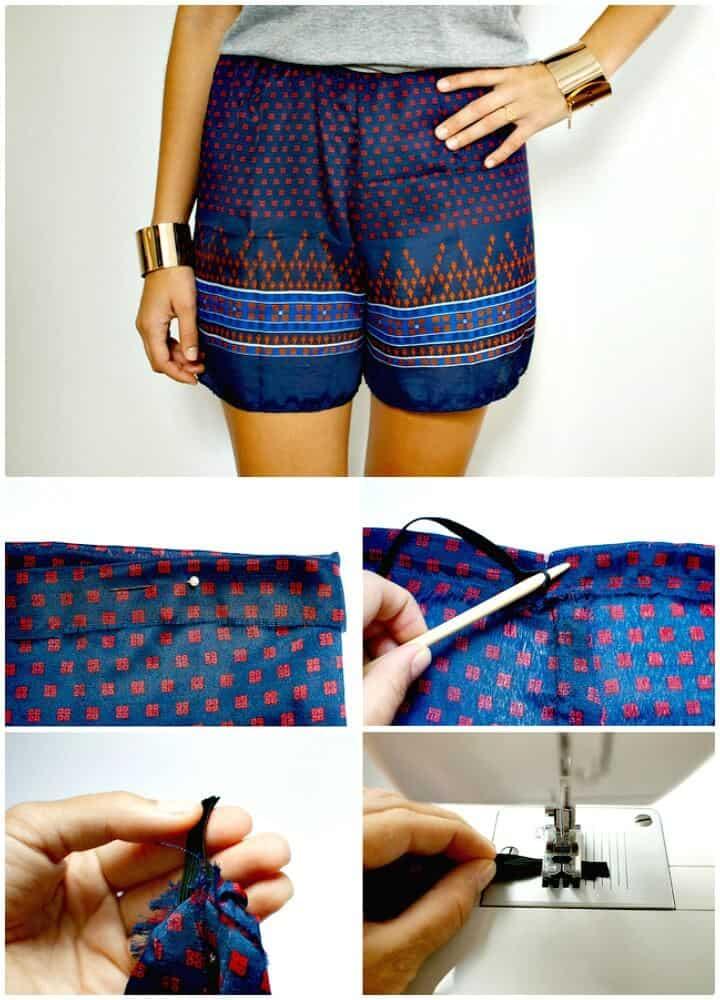 Pantalones cortos con estampado de bufanda de bricolaje: trajes para el verano