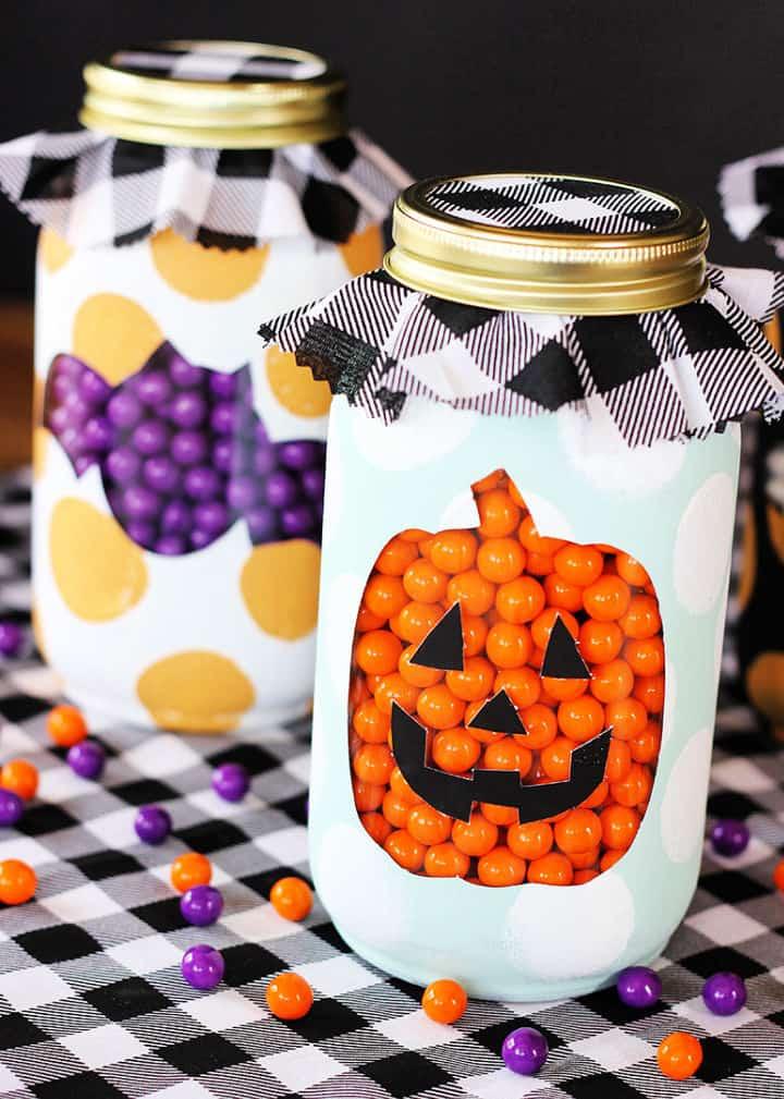 Tarros de masón de Halloween