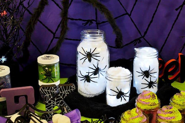 Centro de mesa de luz de araña de Halloween