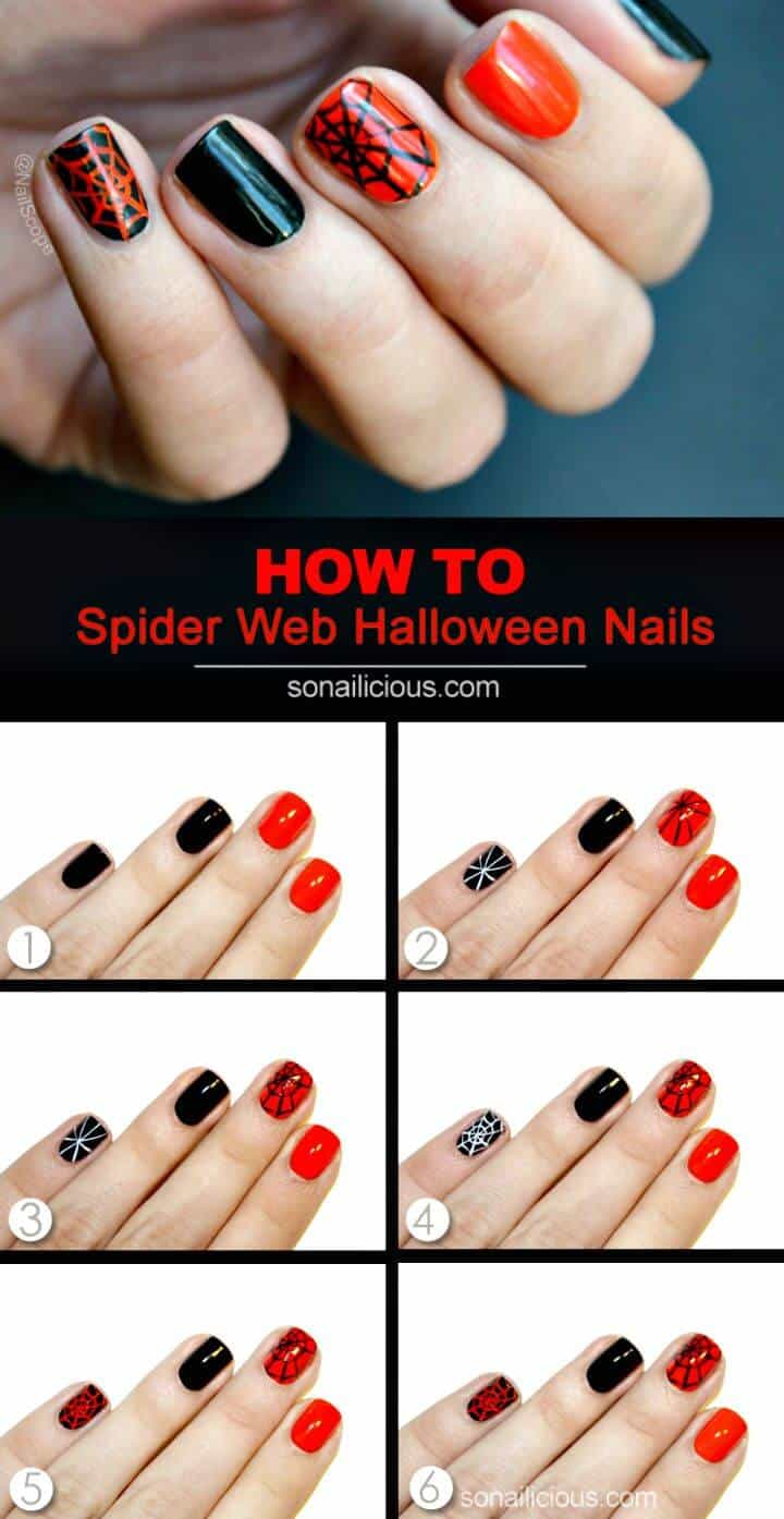 Arte de uñas de telaraña de Halloween súper fácil