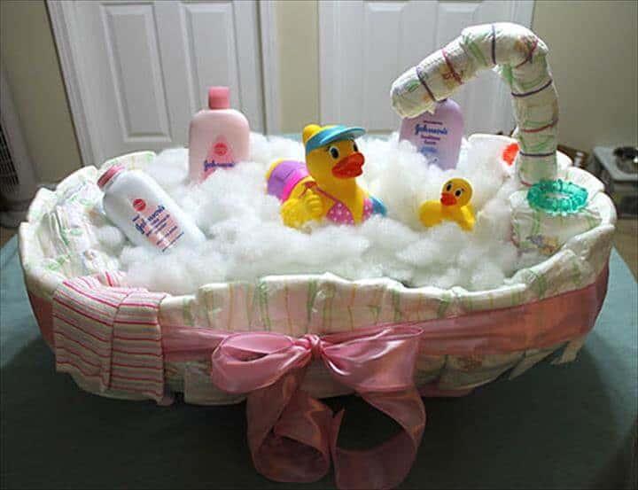 pastel de pañales para bañera de bebé